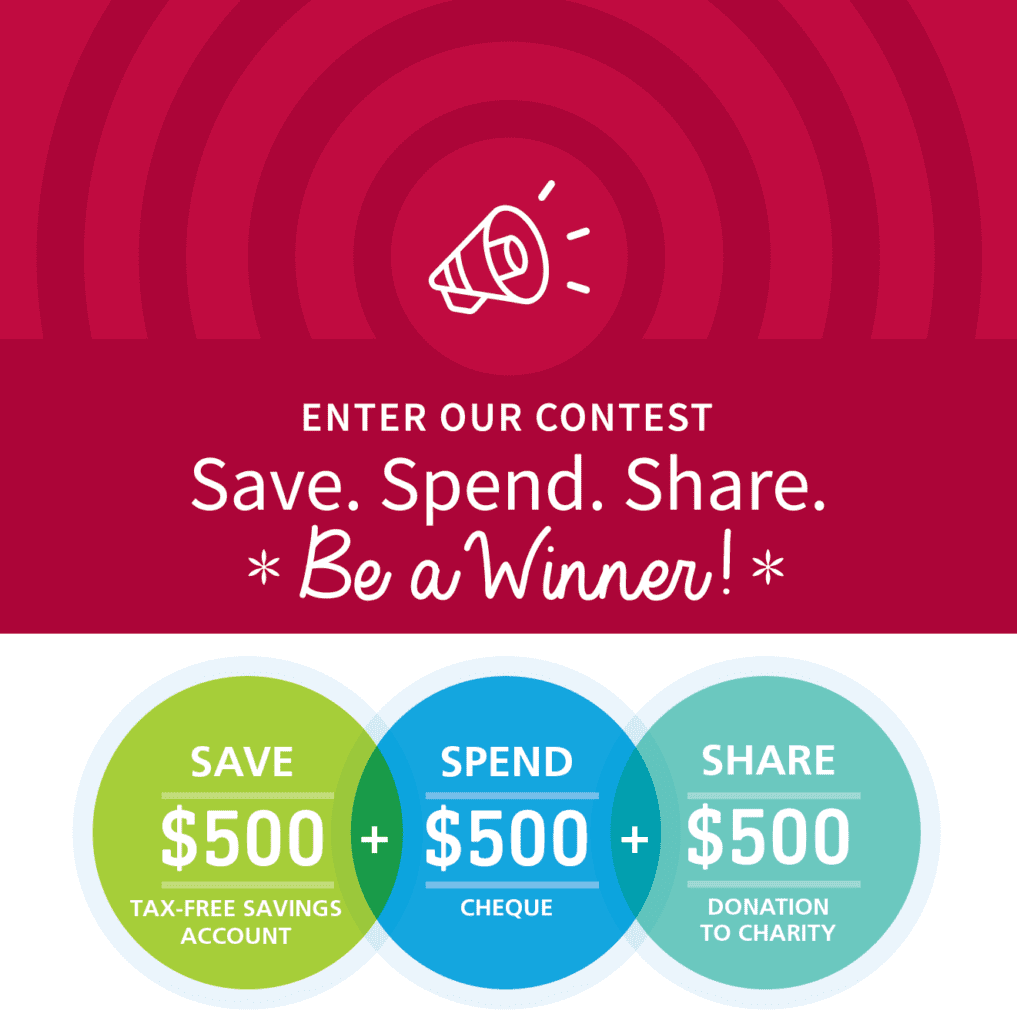 Enter our contest. Save. Spend.Share. Be a Winner!
